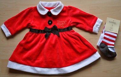 Zuckersüßes Christmas Santa Kleid mit Strumpfhose Weihnachten rot Gr. 50/56 NEU Santa Baby Kleid