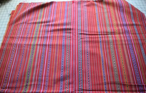 KT9  2 1/2 yards handwoven Central American cotton textile, red, stripes