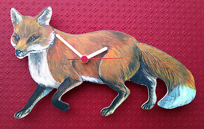 CHARNWOOD FOX HAND MADE WOODEN WALL CLOCK COUNTRY ANIMAL FARM YARD COLLECTION