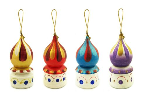 Christmas Ornaments Decorations Set of 4 Golden Domes Wooden Russian Handmade