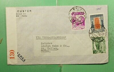 DR WHO 1940 PERU LIMA AIRMAIL TO SWITZERLAND WWII CENSORED  g14951