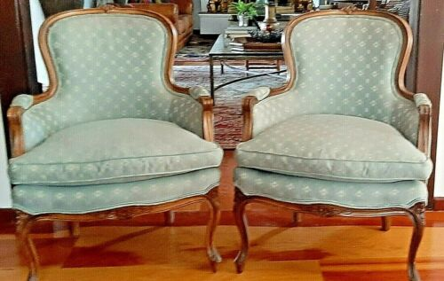 Vintage Bergere Chairs French Country Louis - AMERICAN Made Sam Moore Classics!