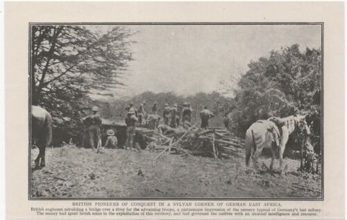 """1916 WWI Print. BRITISH SOLDIERS IN GERMAN EAST AFRICA 8"""" X 5"""" approx"""