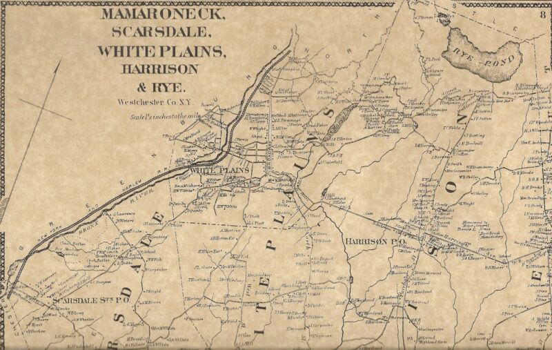 Mamaroneck Port Chester White Plains NY 1867 Map with Homeowners Names Shown