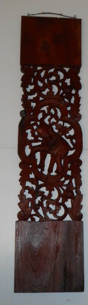 Hand carved circular teak wood panel pair of elephants 29cm Thai single panel