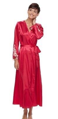 - Flora Nikrooz Women's Lace Trim Charmeuse Long Robe L/XL Red NWT Large XL