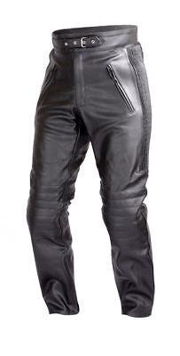 Mens Motorcycle Black Leather Pants with CE Rated 4 Piece Armor PT55