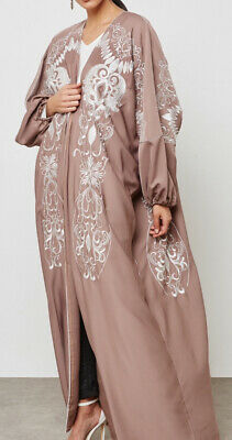 Women Kaftan Abaya Muslim Islam Long Sleeve Fawn Taupe Nude White Embroidered S
