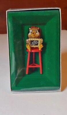 VTG IOB 1982 ENESCO Owl Christmas Ornament    Merry Christmas Teacher   E-6984 ()