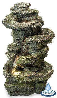 Outdoor Fountain 4-Tier Conway Falls Rock Cascade Garden Decor Water Feature