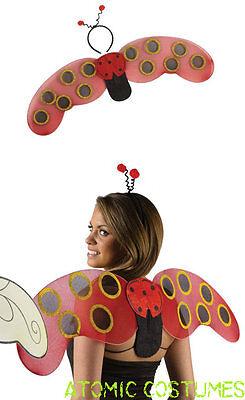 Womens Ladybug Wings Costume Headband Bopper Head Band Red Lady Bug Kit Adults