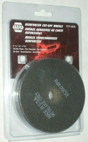 "Napa 777-1575 Die Grinder Cut Off Wheels 4 x 1/16 x 5/8"" Arbor 54 Grit USA 10 pk"