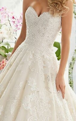 Stunning Morilee Ball Gown Ivory lace wedding dress size 8 - excellent...