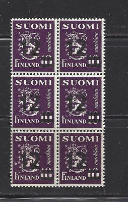 FINLAND - 275 - SHEET OF 6 - MNH - 1948 -NEW VALUE O/P ON RAMPANT LION