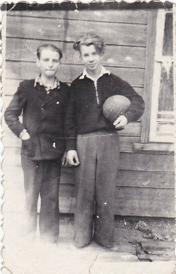 1950s Handsome young teen boys friends football fashion old Soviet Russian photo