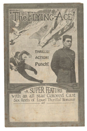 THE FLYING ACE - Rare 1926 African-American Silent Film Flyer BLACK MOVIE HERALD