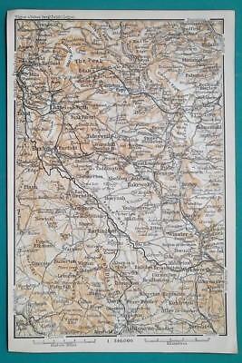 1897 BAEDEKER MAP - ENGLAND Peak District National Park Hartington