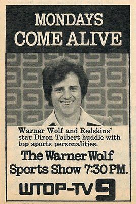 1974 Wtop Washington D C Tv Ad Warner Wolf Show Redskins Football Diron Talbert