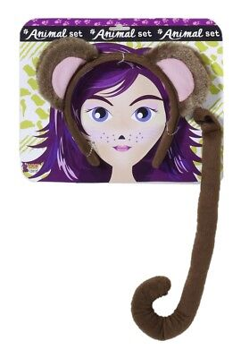 Brown Monkey Animal Kit With Tail Ears Adult Child Costume Accessory Set Plush (Monkey Ears Tail Halloween Costume)