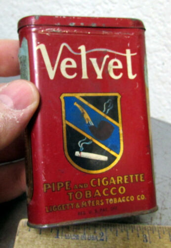 VINTAGE Velvet tobacco pocket tin, Coat of Arms logo, Empty tin, home decor item