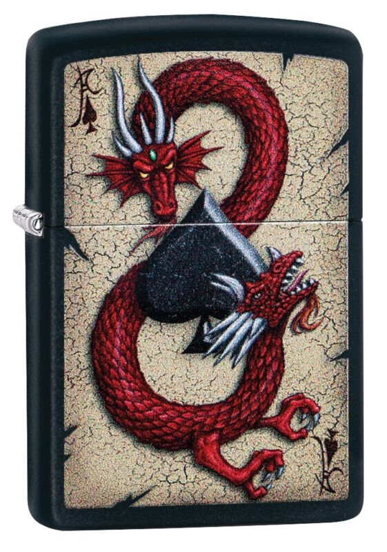 Zippo Dragon Ace Design Black Matte Windproof Pocket Lighter, 29840