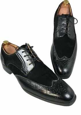 Bolano Mens Black Classic Suede and Smooth Dress Shoe Style Stefano - Size 13 Black Suede Dress Shoe