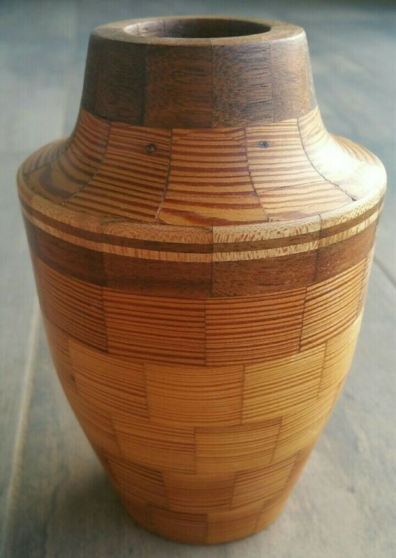 """HANDCRAFTED SEGMENTED  WOOD VASE 6"""" TALL"""