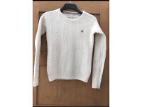 Jack wills cream cable knit jumper size 8