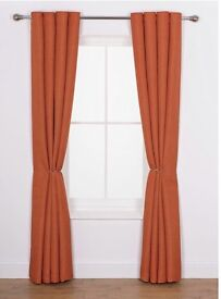 Heart Of house Rustic Orange Lined Eyelet Curtains 228cm x 228cm