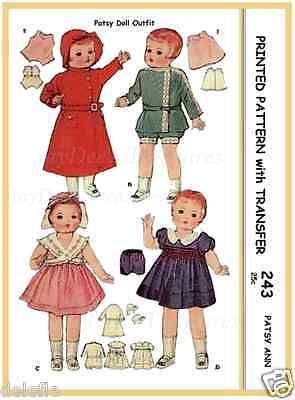 "243 Vintage Doll Clothes Wardrobe Pattern 14"" Patsy"