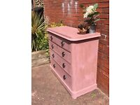 Beautiful Salmon Victoria Chest of Drawers with Original Key and Bonnet Drawer