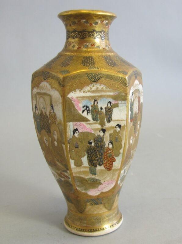"Japanese Antique Hexagon Shaped 7"" Satsuma Vase W/ Elders  C. 1890  Meiji-era"