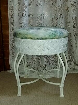 Vintage Round metal White Hairpin Leg Stool Seat Padded Bench for sale  Shipping to Canada