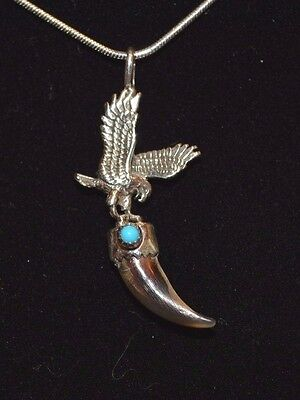 Necklace Native American Eagle & Coyote Claw Sterling Silver  By Navajo E H