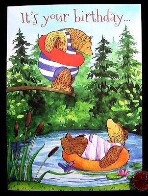 Teddy Bears Inner Tubes Pool Forest Trees Dive - Birthday Greeting Card - NEW, used for sale  Burbank