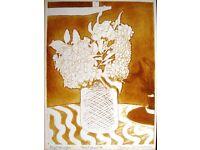 John Brunsdon etching aquatint Hydrangea Trial Print 4 signed mounted