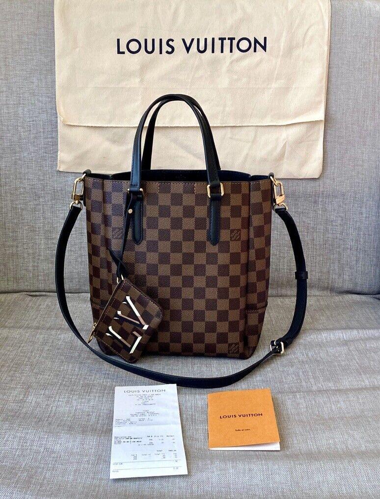 AUTH New Louis Vuitton Belmont PM Tote Bag Black Damier Ebene Shoulder Crossbody