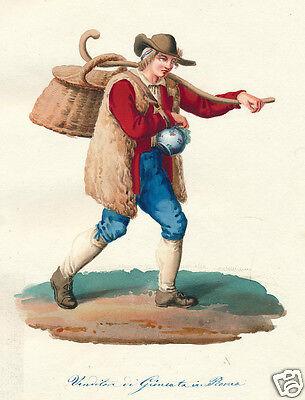 1840 Rome Lazio Italy man costume Salvatore Marroni watercolor engraving
