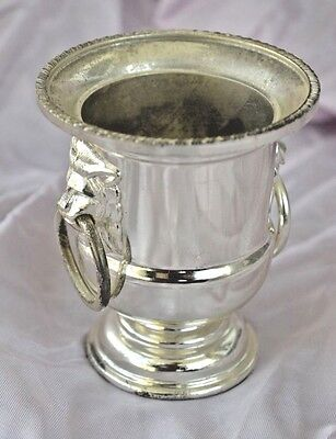 "Champagne Bucket Silver Metal Lion Handles Mini 3"" Tall Size"