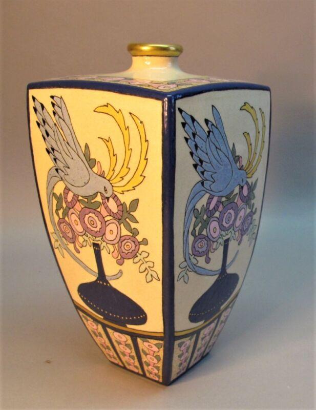 Fine AMERICAN SATSUMA Hand-Glazed Art Nouveau Pottery Vase  c. 1917  antique