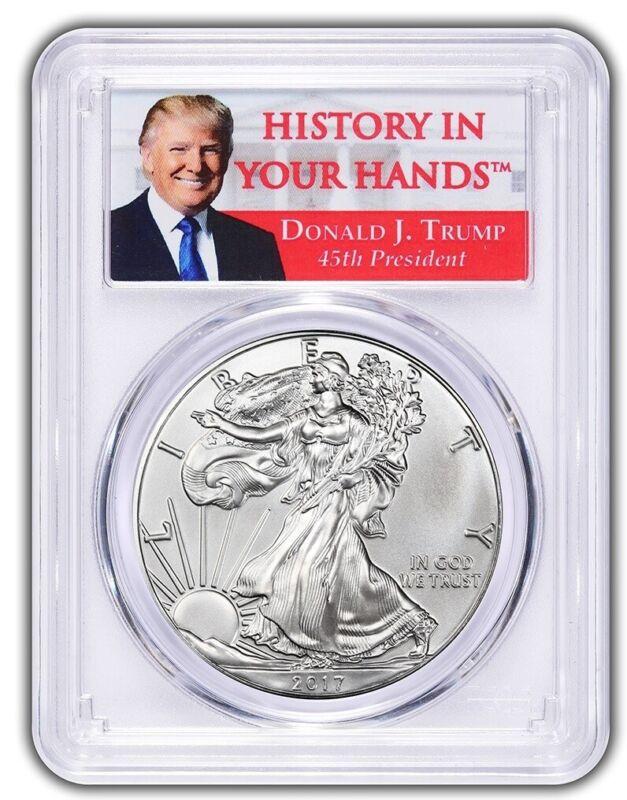 2017 1oz Silver Eagle PCGS MS70 Donald Trump Label