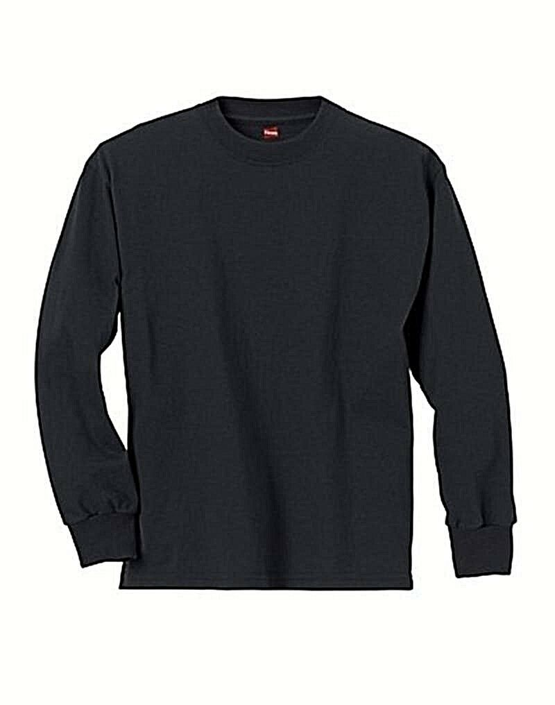 Hanes Youth ComfortSoft TAGLESS Long-Sleeve T-Shirt Black S