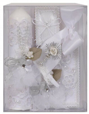 First Communion White Candle Box Gift  5 Pc Set Boys Missal English Rosary New ](Boy First Communion Gifts)