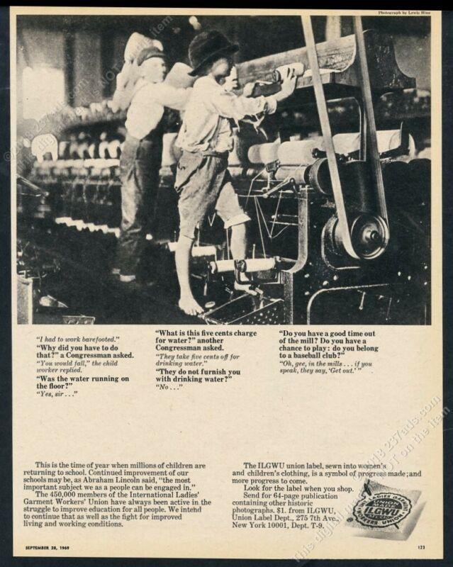 1969 Lewis Hine child labor photo ILGWU Union Label vintage print ad