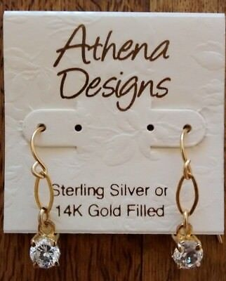 $50 NWT Athena Designs Crystal and Gold Drop Earrings