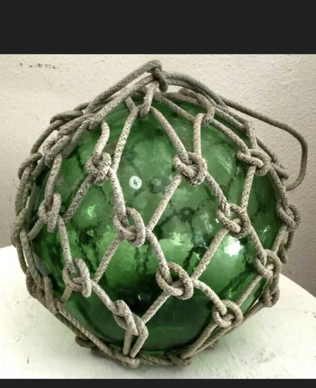 Vintage Sea Glass Floats - Rope Included - Large - Green