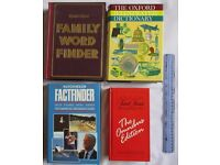 4 BOOKS RETRO Hutchinson Factfinder Oxford Illustrated Dictionary Trivial Pursuit Family Word Finder