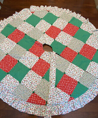 """Vintage Handmade Quilted Patchwork Christmas Tree Skirt - Cardinals 44"""""""