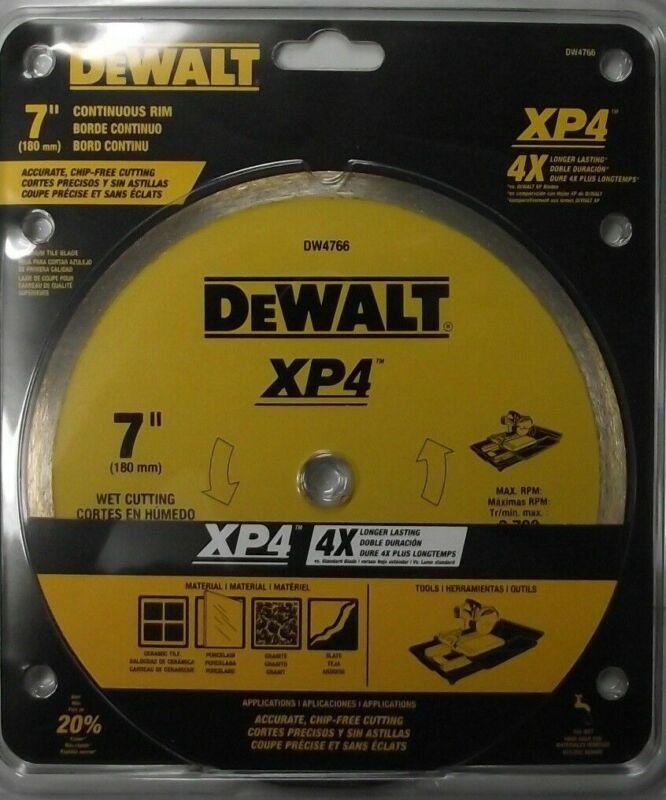 """Dewalt DW4766 7/"""" Continuous Rim XP4 Diamond Tile Saw Blade Wet Cutting"""