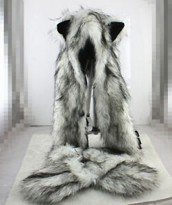 Wolf Hood Faux Fur Hat with scarfs mittens ears and paws Spirit 3 in 1 Warm Hat